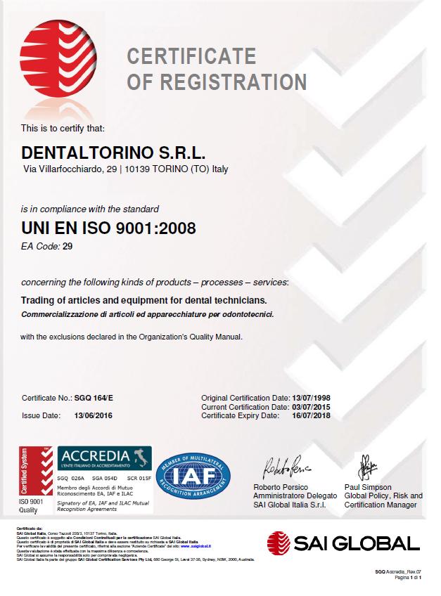 Certificato ISO 9001:2008